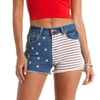 Americana Cut-Off High-Waisted Denim Shorts - Dark Wash Denim
