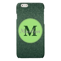Monogram and Name on Emerald Green Glossy iPhone 6 Case