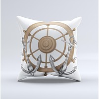 Nautical Captain's Wheel with anchors ink-Fuzed Decorative Throw Pillow
