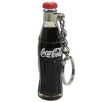 mini real glass Coke Coca-Cola full bottle with red cap key chain keyring