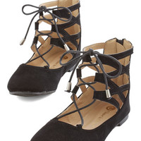 ModCloth Darling Cut and Paced Flat in Black