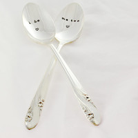 i do me too, wedding spoon -Hand stamped- wedding gifts- anniversary gifts.