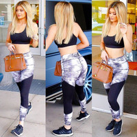 Women Floral Printed Floral Printed Sport Suit Fitness Sportswear Stretch Exercise Yoga  Trousers Pants _ 10481