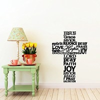 Cross Jesus Christ Wall Decal Religion Prayer Writing Decals Wall Vinyl Sticker God John Psalm Quote Bible Home Interior Wall Decor for Any Room Housewares Mural Design Graphic Bedroom Wall Decal Bathroom (5870)