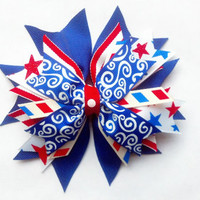 Fourth of July Spike Hair Bow, 4th of July Spike Hair Bow, Boutique Bow, Patriotic Hair Bow, Independence Day Bow, Red White and Blue Bow