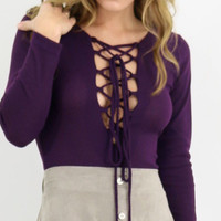 Goldenrod Lace Up Plum Long Sleeve Bodysuit