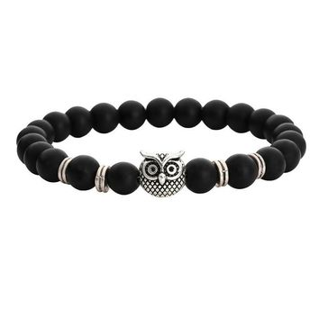 Owl Genuine Black Agate Gemstone Bead Bracelet for Women or Men