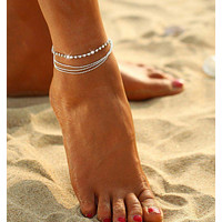 Multi Row Crystal Chain Anklet Ankle Bracelet