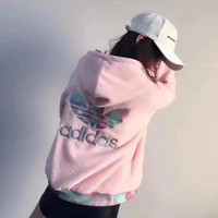 ADIDAS Women Fashion Two Sides Hooded Cardigan Jacket Coat