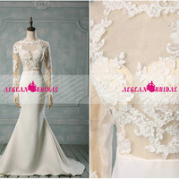 RE210 See Through Lace Evening dress 2014 Mermaid wedding party dress Buttons Long Prom Dress Long Sleeve Evening Dress Fishtail Summer Girl
