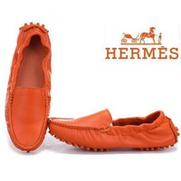 Hermes Fashion Slip-On Leather Flats Shoes