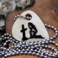 Praying Cowgirl at Cross on Cow Bone Necklace