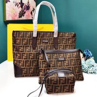 FENDI Popular Women Shopping Bag Leather Handbag Shoulder Bag Crossbody Purse Wallet Set Three Piece