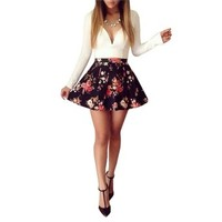 Moxeay® V-neck Floral Printed Party Prom Ball Bodycon Dress