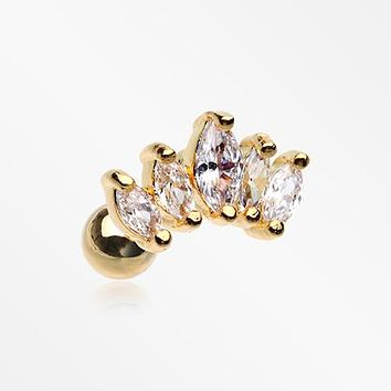 Golden Journey Marquise Sparkle Cartilage Tragus Stud Barbell Earring
