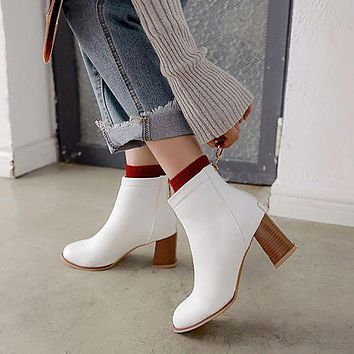 Round Toe Zip Women's High Heeled Ankle Boots