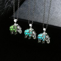 """Drop Shipping"""" Glowing Jewelry Glow in the Dark Silver Plated Luminous Stone Animal Thailand Elephant Pendant Necklace for Party"""