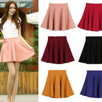 Candy Color Women's Stretch Pleated Jersey Plain Skater Flared Mini Skirts gh908