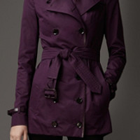Short Leather Detail Sateen Trench Coat