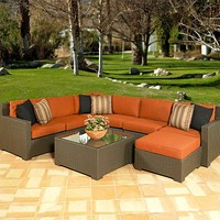 Melrose All-Weather Wicker outdoor Sectional seating --Seats up to 7