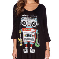 Black Robotic Cassette Long Shirt
