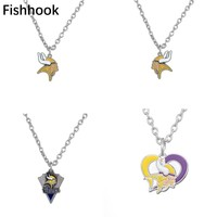 Fishhook Zinc Alloy Football Minnesota Vikings Pendant Necklace Sporty Charm Necklace With 450+50mm Chain For Men and Women