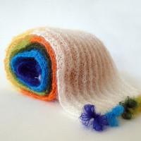 FREE SHIPPING WORLDWIDE A Hand Knitted Multicolored Extra Soft Mohair Scarf with Colorful Decorations