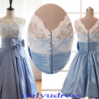 new arrival crew homecoming dress, cheap a-line homecoming dress, elegnat prom dress, lace bodice prom dress with illusion neck   5114