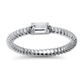 Sterling Silver Stacking Style Ring with Rectangle CZ Accent