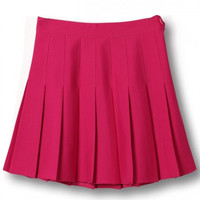 Rose Red Pleated Mini Skirt