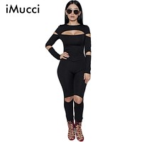 2016 New Fashion Hole Rompers Women Jumpsuit Plus Size Solid Black Bodysuits Long Sleeve Skinny Bodycon Zipper Jumpsuits