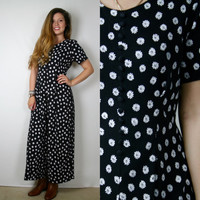 Black and White DAISY Print JUMPSUIT // Small //