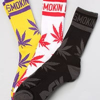 DGK The Stay Smokin 2 3Pack Crew Socks in Black White Yellow