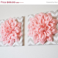 """MOTHERS DAY SALE Two Wall Flowers -Light Pink Dahlia on Taupe and White Chevron 12 x12"""" Canvas Wall Art- Baby Nursery Wall Decor-"""