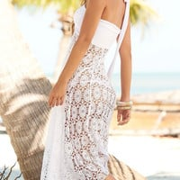 White Convertible Cover Up Lace Crochet