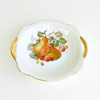 Vintage Porcelain Dessert Bowl, Gold Castle Fruit Bowl with Pears and Mixed Fruit, Scalloped Rim, Handles, Hand Painted Gold Trim.