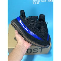 DCCK A284 Adidas Yeezy 350 V2 Real Boost Basf Champion Knit Running Shoes Black Blue