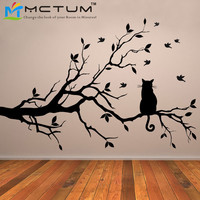 Free Shipping Large Size:70H*106W CM Cat On Long Tree Branch Wall Sticker Animals Cats Art Decal Transfers