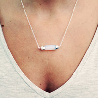 Bar Necklace, Opal Pendant, Sterling Silver Bar, Statement, Silver Bar Necklace, Trendy Boho, Horizontal Bar Necklace, Gemstone necklace