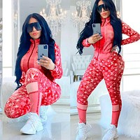 Louis Vuitton LV women's autumn and winter zipper jacket suit sexy printed letters fashion casual two-piece suit