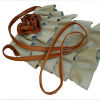 Leather Ruffle Purse Cross Body Across the Body Bag Sage Amber in stock
