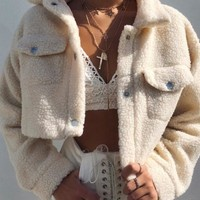 Fleece Teddy Cropped Jacket