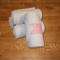 Equine Standing Wraps/White Standing Wraps w/Pink Vines Velcro Straps by Brax Designs