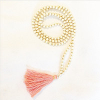 Wood Bead Rosary with Gold Spacers and Light Coral Handmade Tassel Necklace Long Wooden Round Beads Beaded