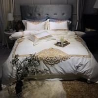 Embroidery Luxury Bedding Set Beige Grey 100S Egyptian Cotton High Density Queen King size Bed set Duvet cover  Bed Sheet set