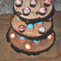 """Cup Cake Stand beautiful White Pine rustic Cupcake Stand, 3 tier 12"""", 11"""", 10"""" tiers rustic wedding"""