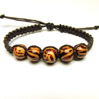 Zebra Stripe Bracelet, Dark Brown Macrame Hemp Jewelry, Animal Print Beads - One Available
