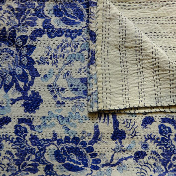 Bird Print Indigo Quilt, Kantha Quilt Queen, Handmade Bedding, Indian Cotton Bedspread, Reversible Blanket, Bedroom Decor, Handstitched
