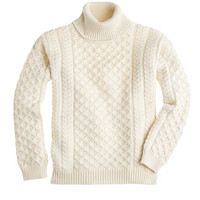 J.Crew Womens Aran Crafts Cabled Turtleneck Sweater