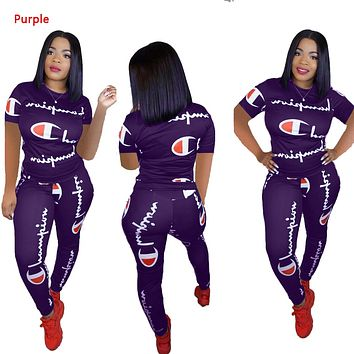 Champion Summer New Fashion More Letter Sports Leisure Top And Pants Two Piece Suit Purple